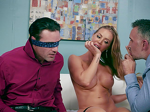 Nicole Aniston is the boss who manages to make her hubby and an employee fuck her