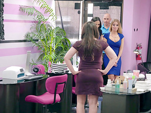 Horny friends Britney Amber and Ariana Marie attack a guy for a shag