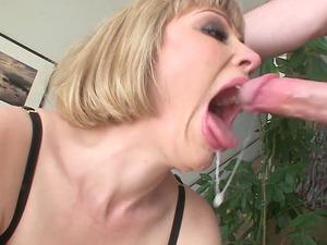 Sweet blonde Adrianna Nicole ravished between her warm lips