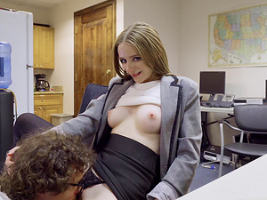 Pale redhead secretary Ava gets a filling in her sweet pussy