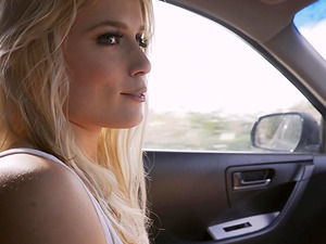 Cock craving blonde Sweet gets frisky with a dick in a car