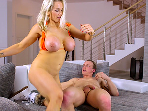 Hot blonde Rebecca Moore's anal hole pounded hard by a fellow