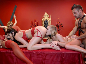 Aubrey Rose and Bailey Brooke are good slaves enjoying an orgy