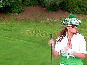 Classy kelly playing golf then giving dick blowjob