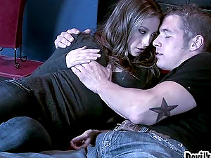 Chris Johnson and Jenna Haze make out and have tender hookup