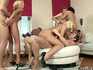 Hot interracial group bang-out featuring Alena A, Jules and many others