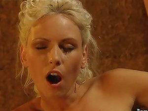Beautiful blonde deepthroats her hubby's jizz-shotgun in the jail