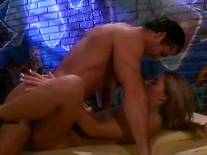 Horny blonde chick fucks two guys and gets her face covered with spunk
