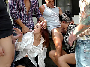 Kira Queen and Meg Magic attacked by a bunch of horny lovers