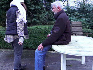 Bunny Baby is a cute brunette seduced by an elderly man for a fuck