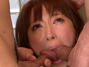 Squirting Asian is tied up and used in a threesome