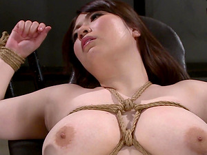 Chitose Saegusa is a busty tied up babe ravished with toys