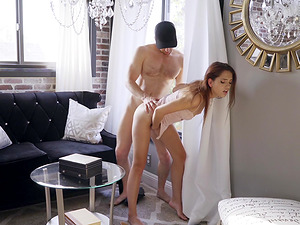 Brooke Haze attacked by a handsome lover for a sex session