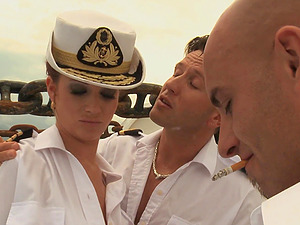 Cindy Dollar fucked on a ship by two horny stallions