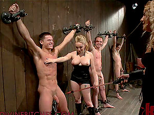 Two Blonde Dominatrices Playing and Fucking Three Enslaved Dudes