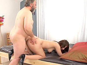 Dirty old man fucks huge-titted chick and cums on her belly