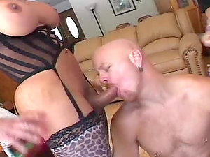 Tom Moore gets his butt hotly fucked by two horny trannies