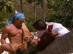 Curly stunner gets fucked by two guys on uninhabited island