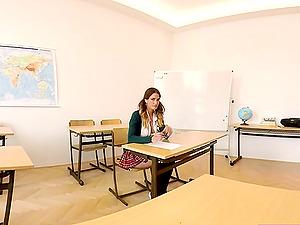 Hot beautiful college girl fucks in the classroom