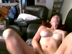 Hot busty brunette with big tits playing with her pussy and teasing