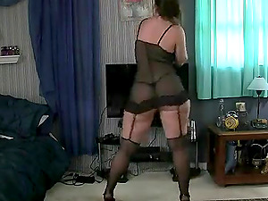 Hot blonde girl in see through dress enjoyed strip tease with her nice tits