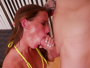 Sofie Marie is a skillful MILF who loves to suck a throbbing dong