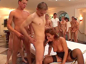 Uncountable Guys Waiting In Line To Fuck Jenna Crimson's Crevasses in Group sex