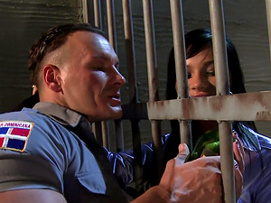 Dirty cop fucking the horny prisoner Jessica Moore and one more