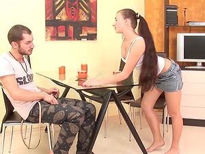 Busty teen Liana fucked hard on kitchen table