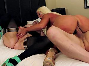 Milf Alura Jenson and her slutty friend sharing a throbbing rod