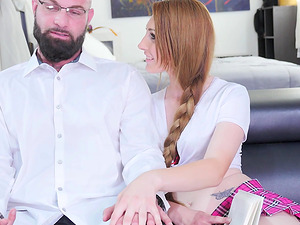 Irresistible schoolgirl with a braid Nina Skye humps a stiff dick