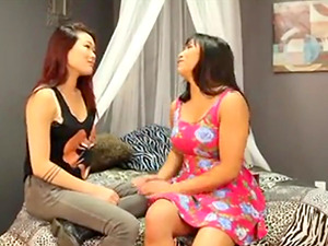 Brunette asian lesbian seduces straight