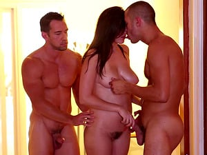 Salacious Holly Michaels is between two fellas who are horny