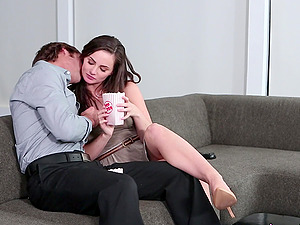 Amazing Lily Carter putting a wiener deep in her throat and cunt