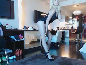 Blonde webcam goddess - black dress and heels squirt on the floor