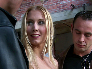 Two fellas take off Julie Silver's dress and dick her passionately