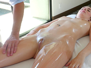 Handsome guy finally gets to fuck hot Bella Skye on the table