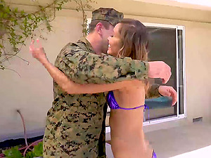 Hot Asian Welcomes Her Soldier Friend Home
