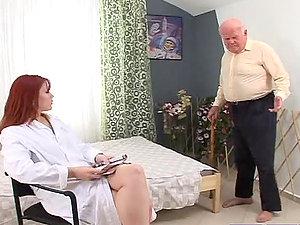 Sizzling crimson haired therapist fucks this grandpa
