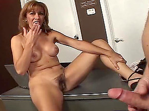 Desirable lady Mikela Kennedy jacks off milfman's shaft