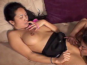Two hot Asian honeys Cleo and Kitty are going lezzie