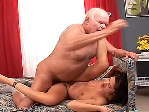 Horny bi-atch Tera Joy fucks a grandpa and lets him eat the internal cumshot