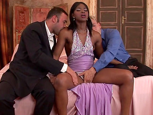 Naughty black babe likes when two guys fuck her at the same time