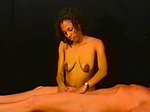 Ebony amateur jerking a white cock