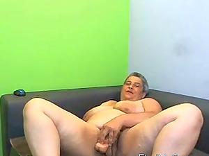 Galiya plays with big rubber dildo