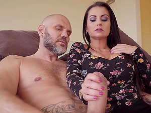 Sexy Bianka Blue rides a big cock while her big tits bounce up and down
