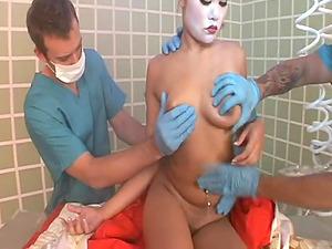 Weird Asian porn featuring a geisha getting fucked hard by rescue team