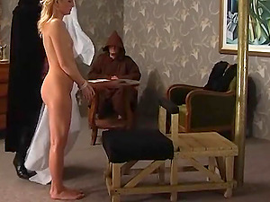 Blonde sweetie moans loudly while a kinky babe hits her with a stick