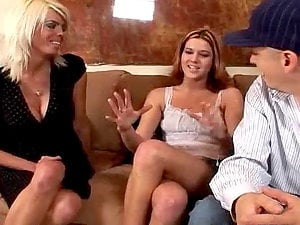 Impressively Sexy and Horny Cougars Sharing a Man sausage in Threesome