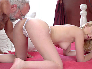 Old guy finally gets to fuck young Amaris in various poses